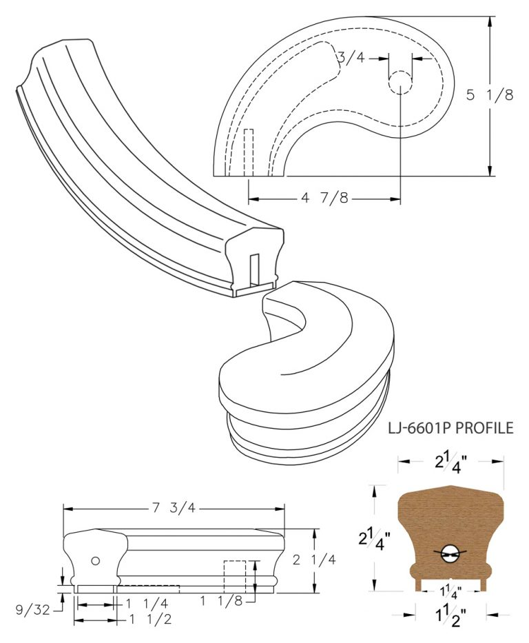 "LJ-7640P: Conect-A-Kit 5"" Left Hand Turnout for LJ-6601P - 1 1/4"" Plowed Handrail CAD Drawing"