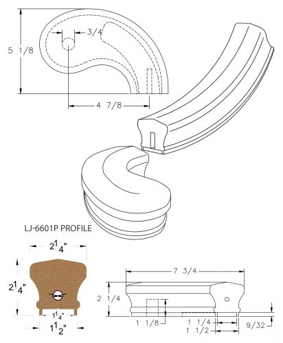 """LJ-7645P: Conect-A-Kit 5"""" Right Hand Turnout for LJ-6601P - 1 1/4"""" Plowed Handrail CAD Drawing"""