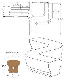 LJ-7647: Conect-A-Kit Left Hand S Fitting / Offset for LJ-6601 Handrail CAD Drawing