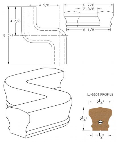 LJ-7648: Conect-A-Kit Right Hand S Fitting / Offset for LJ-6601 Handrail CAD Drawing