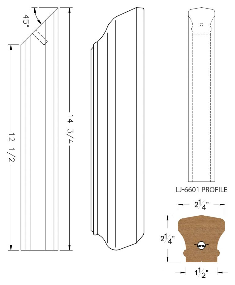 LJ-76RD: Conect-A-Kit Rail Drop for LJ-6601 Handrail CAD Drawing