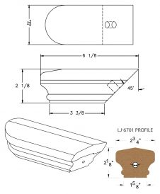 LJ-7709: Conect-A-Kit Returned End for LJ-6701 Handrail CAD Drawing