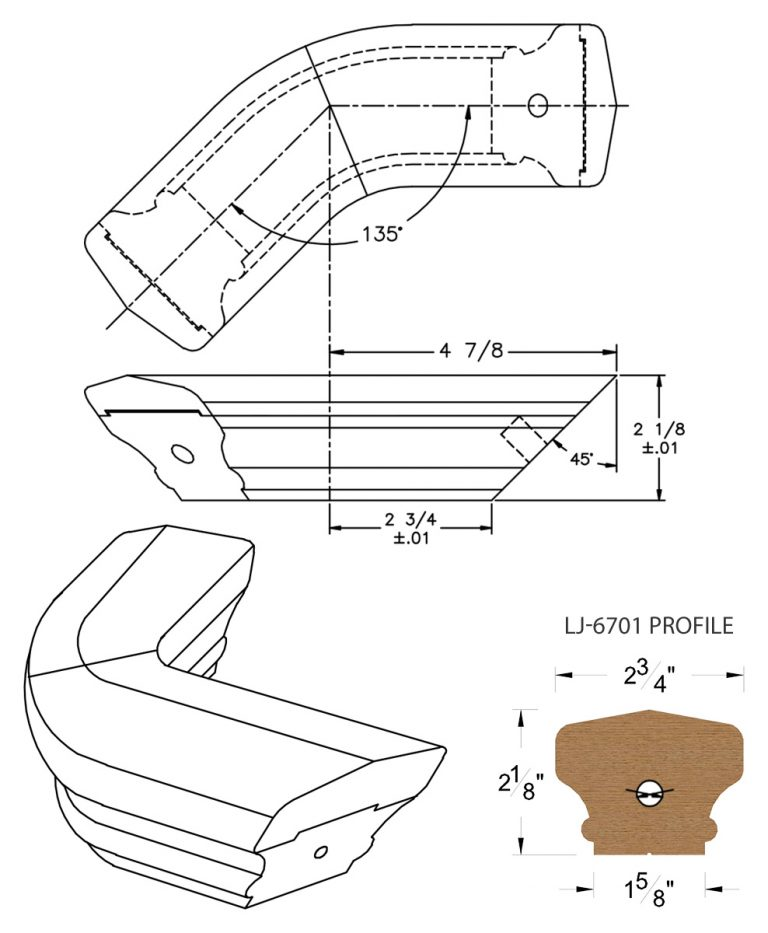 LJ-7711-135: Conect-A-Kit 135° Level Turn for LJ-6701 Handrail CAD Drawing