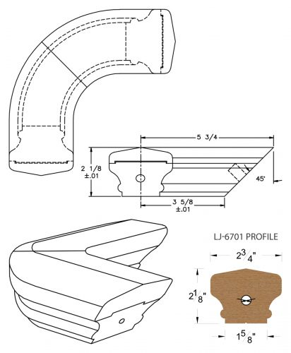 LJ-7711: Conect-A-Kit 90° Level Quarterturn for LJ-6701 Handrail CAD Drawing