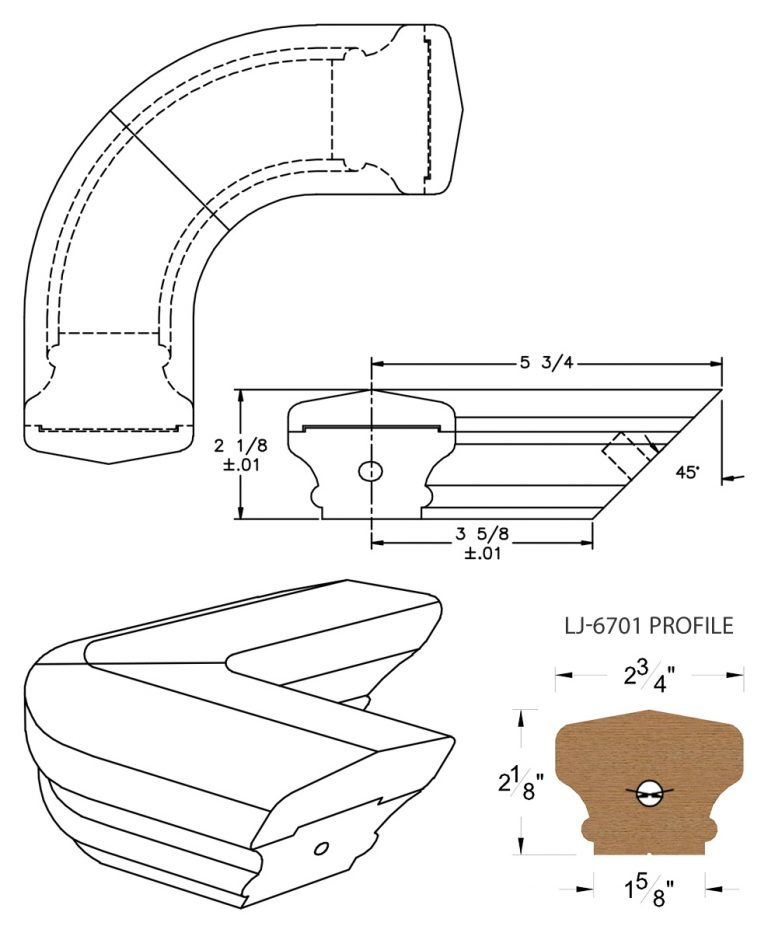 LJ-7711: Conect-A-Kit 90° Level Quarterturn for LJ-6701 Handrail CAD Drawing