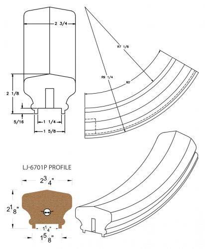 """LJ-7712P: Conect-A-Kit 60° Upeasing for LJ-6701P - 1 1/4"""" Plowed Handrail CAD Drawing"""