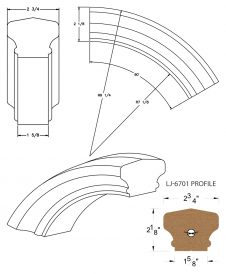 LJ-7713: Conect-A-Kit 60° Over Easing for LJ-6701 Handrail CAD Drawing