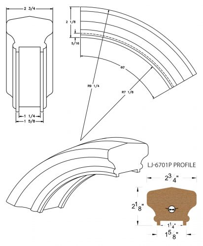 """LJ-7713P: Conect-A-Kit 60° Over Easing for LJ-6701P - 1 1/4"""" Plowed Handrail CAD Drawing"""