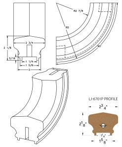 "LJ-7714P: Conect-A-Kit 90° Upeasing for LJ-6701P - 1 1/4"" Plowed Handrail CAD Drawing"
