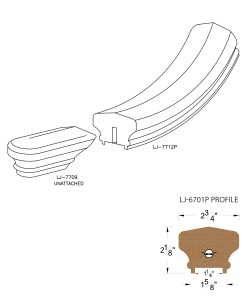 """LJ-7715P: Conect-A-Kit Starting Easing for LJ-6701P - 1 1/4"""" Plowed Handrail CAD Drawing"""