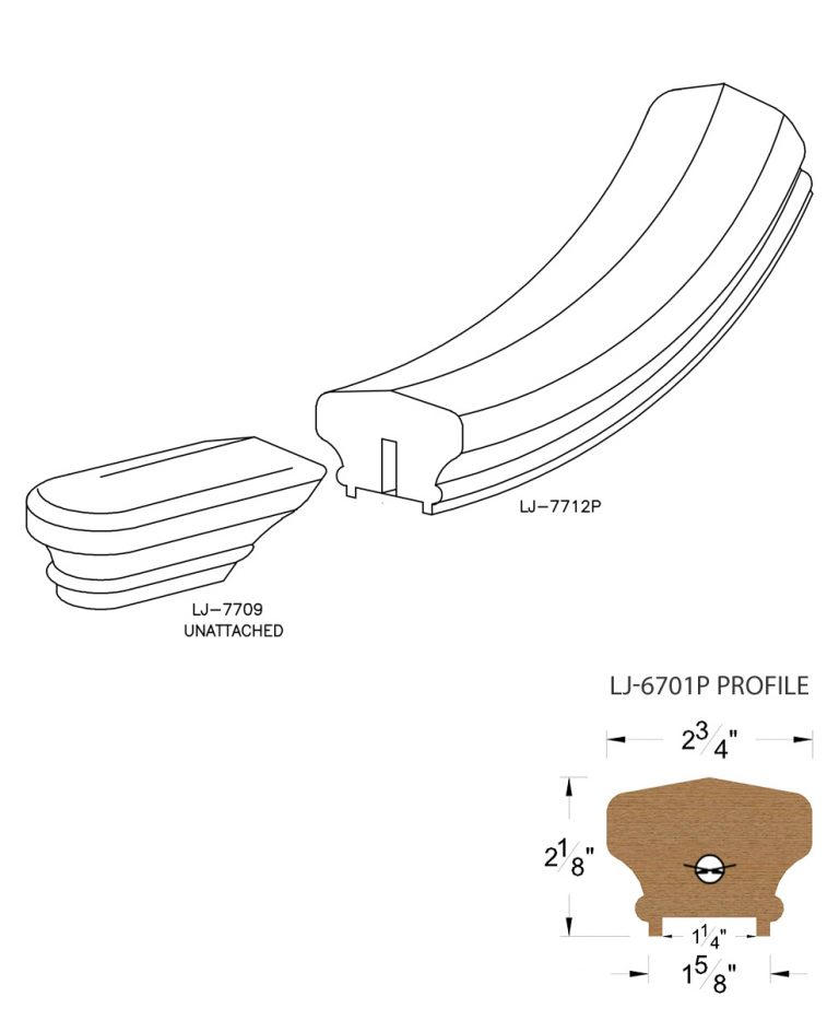 "LJ-7715P: Conect-A-Kit Starting Easing for LJ-6701P - 1 1/4"" Plowed Handrail CAD Drawing"