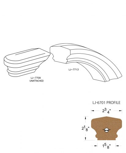 LJ-7716: Conect-A-Kit Starting Over Easing for LJ-6701 Handrail CAD Drawing