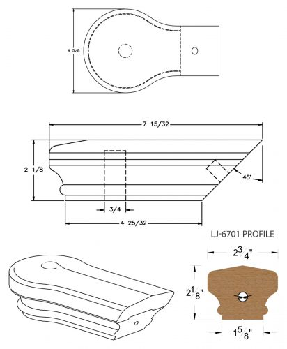 LJ-7719: Conect-A-Kit Opening Cap for LJ-6701 Handrail CAD Drawing