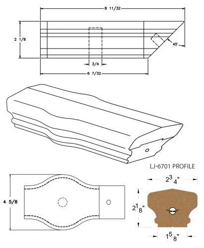 LJ-7720: Conect-A-Kit Tandem Cap for LJ-6701 Handrail CAD Drawing