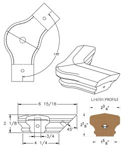 LJ-7721-135: Conect-A-Kit 135° Level Turn with Cap for LJ-6701 Handrail CAD Drawing