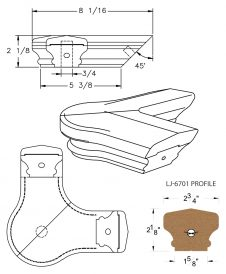 LJ-7721: Conect-A-Kit 90° Level Quarterturn with Cap for LJ-6701 Handrail CAD Drawing