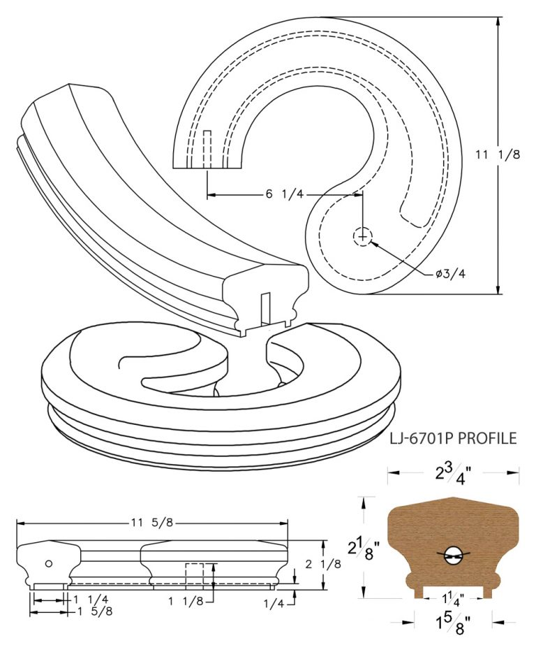 """LJ-7730P: Conect-A-Kit Left Hand Volute for LJ-6701P - 1 1/4"""" Plowed Handrail CAD Drawing"""