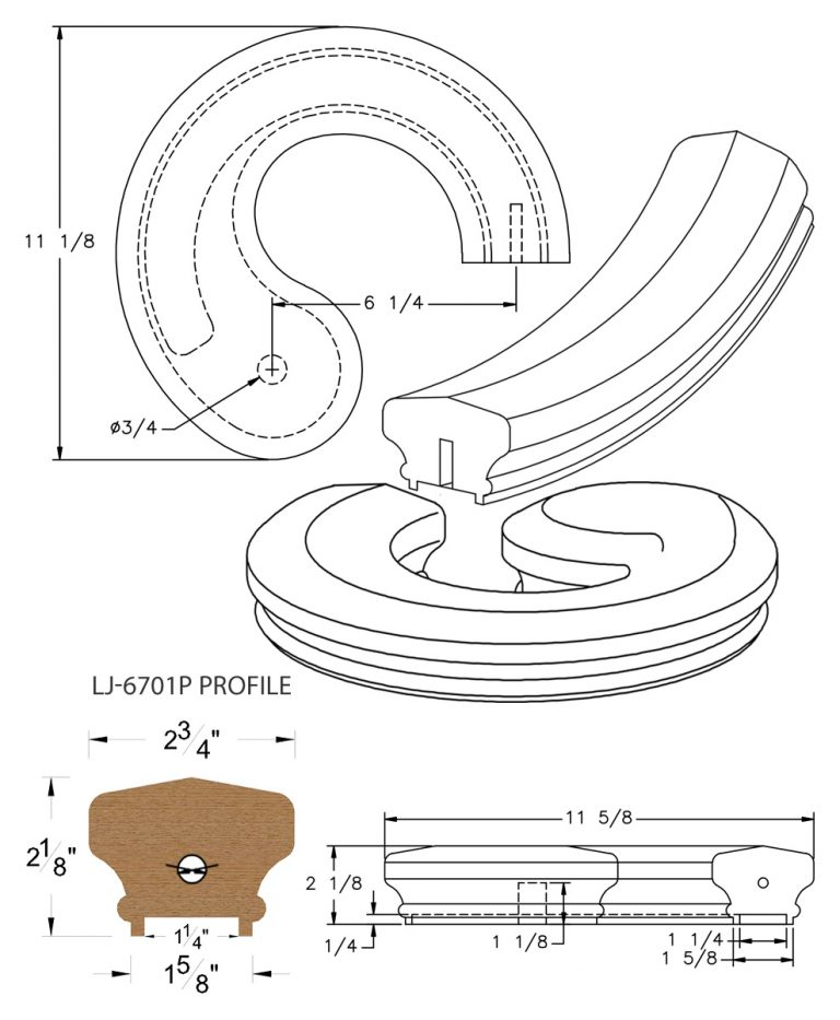 "LJ-7735P: Conect-A-Kit Right Hand Volute for LJ-6701P - 1 1/4"" Plowed Handrail CAD Drawing"