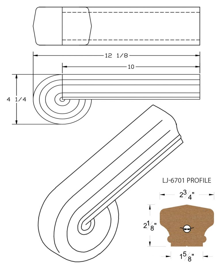 LJ-7738: Vertical Volute for LJ-6701 Handrail CAD Drawing