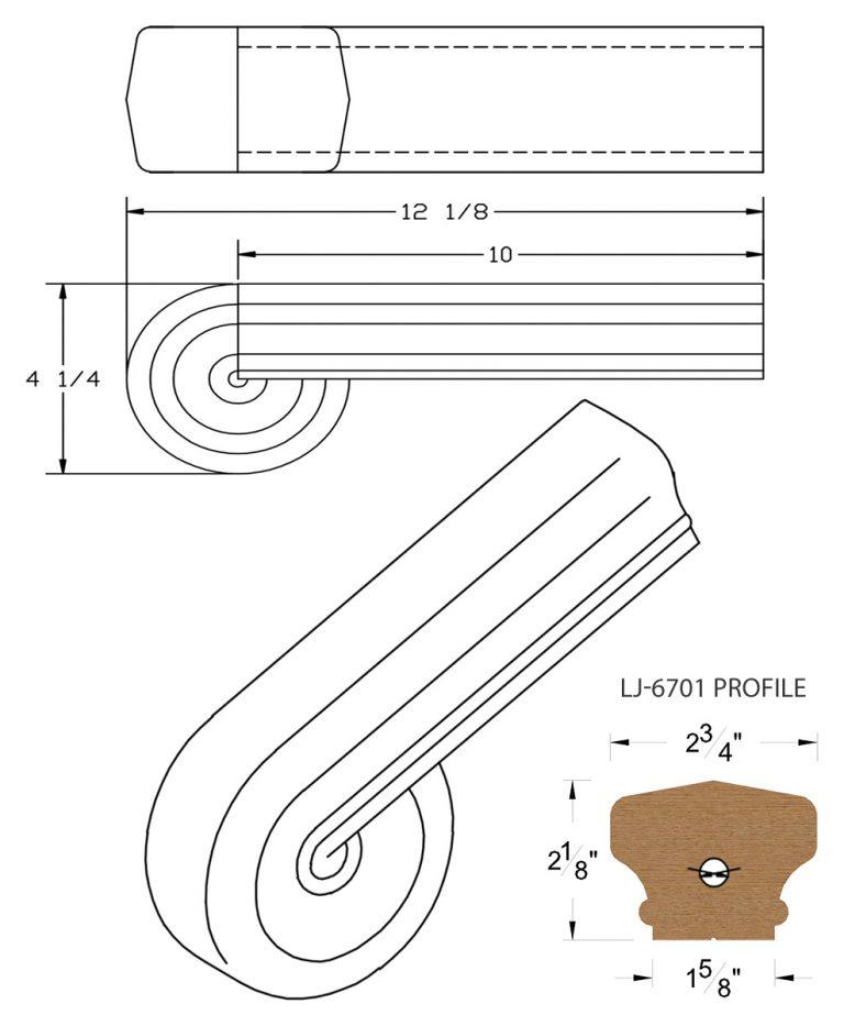 LJ-7738: Vertical Volute for LJ-6701 Handrail CAD Drawing
