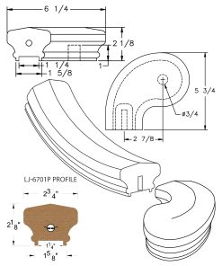 "LJ-7741P: Conect-A-Kit 3"" Left Hand Turnout for LJ-6701P - 1 1/4"" Plowed Handrail CAD Drawing"
