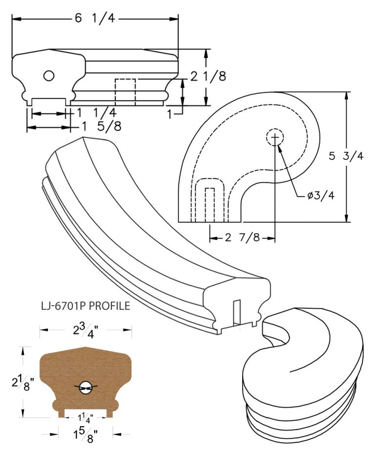 """LJ-7741P: Conect-A-Kit 3"""" Left Hand Turnout for LJ-6701P - 1 1/4"""" Plowed Handrail CAD Drawing"""
