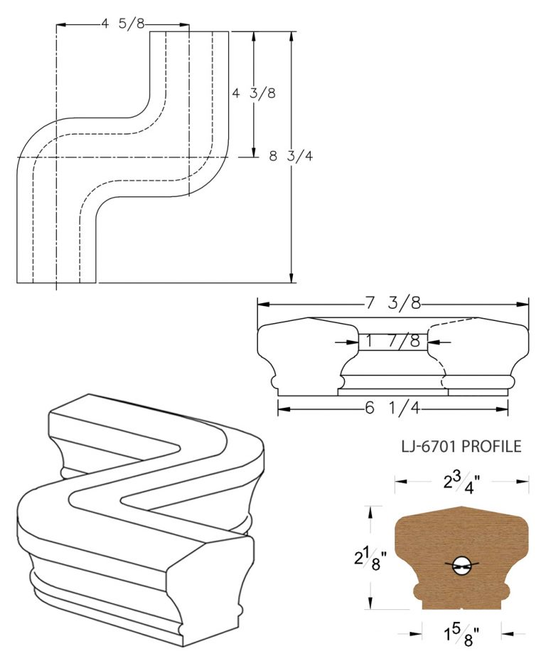 LJ-7747: Conect-A-Kit Left Hand S Fitting / Offset for LJ-6701 Handrail CAD Drawing