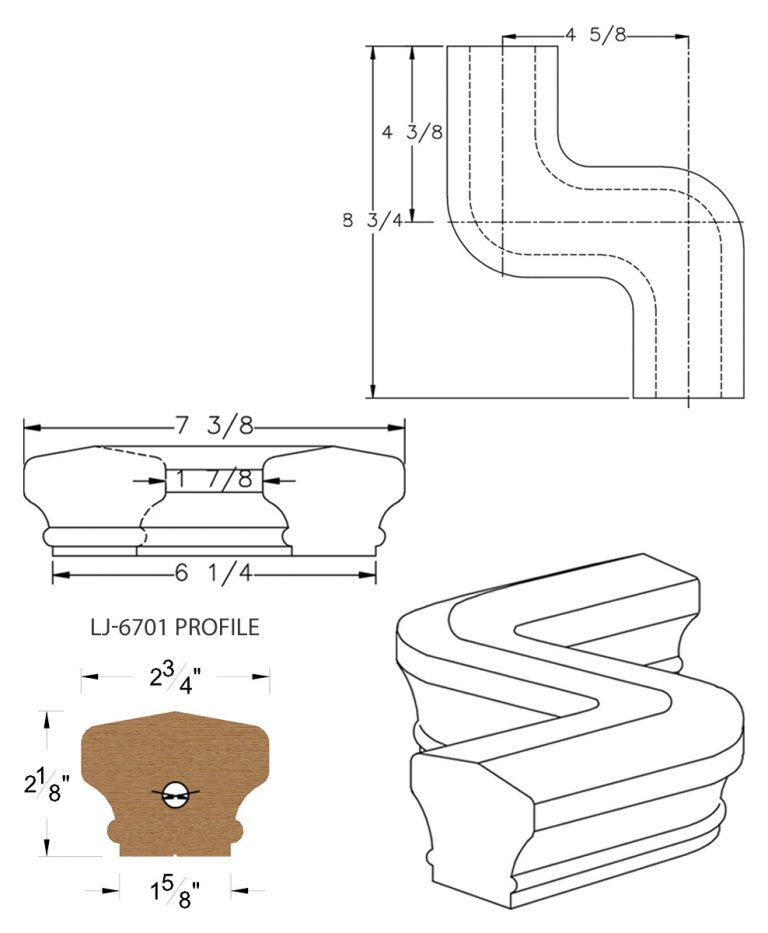 LJ-7748: Conect-A-Kit Right Hand S Fitting / Offset for LJ-6701 Handrail CAD Drawing