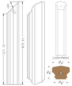 LJ-77RD: Conect-A-Kit Rail Drop for LJ-6701 Handrail CAD Drawing