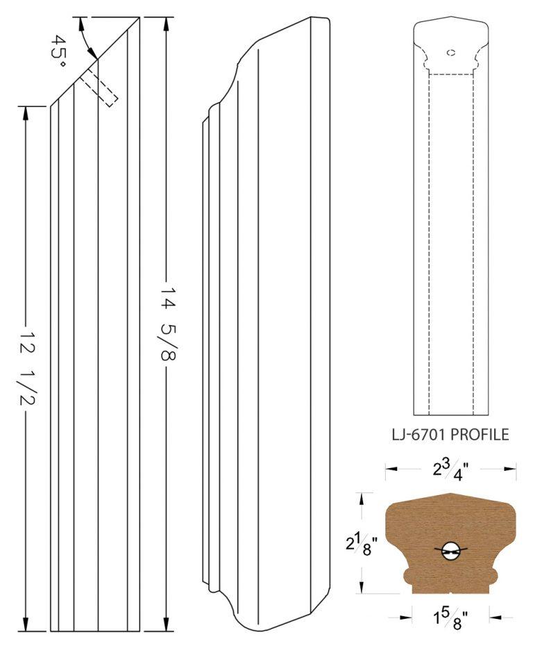 LJ-77RD: Conect-A-Kit Rail Drop for LJ-6701 Handrail CAD Drawing