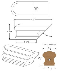 LJ-7909: Conect-A-Kit Returned End for LJ-6900 Handrail CAD Drawing