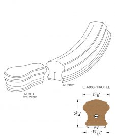 "LJ-7910P: Conect-A-Kit Starting Easing with Cap for LJ-6900P - 1 3/4"" Plowed Handrail CAD Drawing"