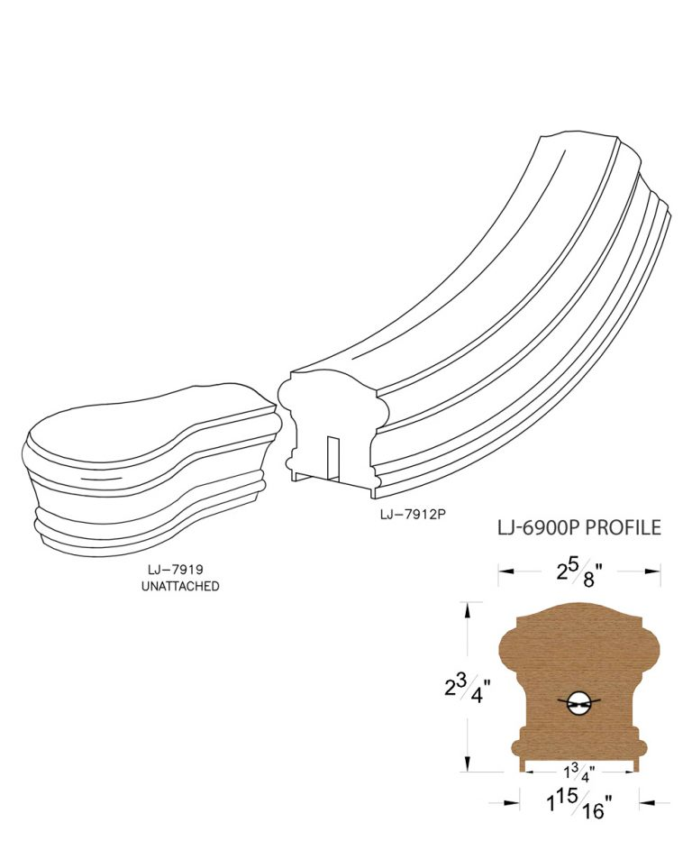 """LJ-7910P: Conect-A-Kit Starting Easing with Cap for LJ-6900P - 1 3/4"""" Plowed Handrail CAD Drawing"""