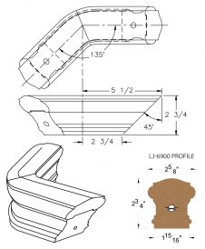 LJ-7911-135: Conect-A-Kit 135° Level Turn for LJ-6900 Handrail CAD Drawing