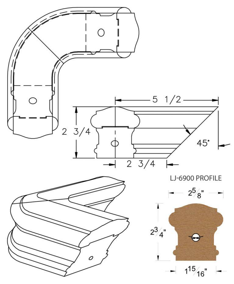 LJ-7911: Conect-A-Kit 90° Level Quarterturn for LJ-6900 Handrail CAD Drawing