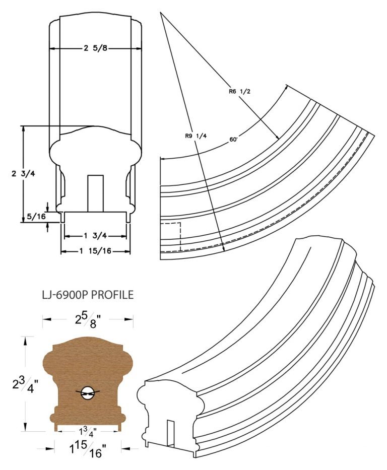 "LJ-7912P: Conect-A-Kit 60° Upeasing for LJ-6900P - 1 3/4"" Plowed Handrail CAD Drawing"