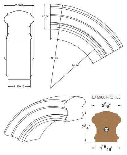 LJ-7913: Conect-A-Kit 60° Over Easing for LJ-6900 Handrail CAD Drawing