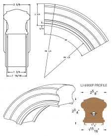 "LJ-7913P: Conect-A-Kit 60° Over Easing for LJ-6900P - 1 3/4"" Plowed Handrail CAD Drawing"