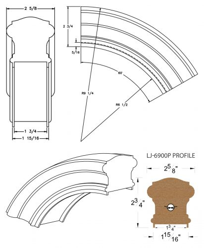 """LJ-7913P: Conect-A-Kit 60° Over Easing for LJ-6900P - 1 3/4"""" Plowed Handrail CAD Drawing"""
