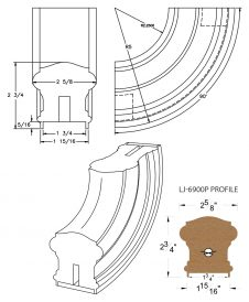 "LJ-7914P: Conect-A-Kit 90° Upeasing for LJ-6900P - 1 3/4"" Plowed Handrail CAD Drawing"