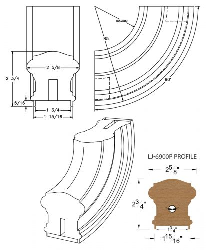 """LJ-7914P: Conect-A-Kit 90° Upeasing for LJ-6900P - 1 3/4"""" Plowed Handrail CAD Drawing"""