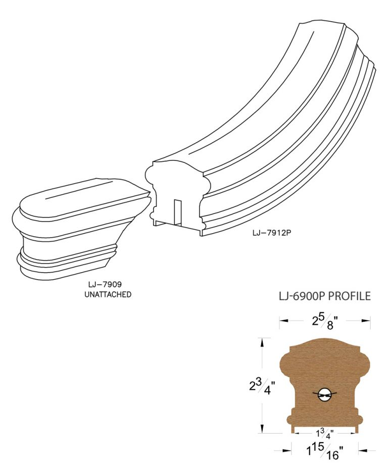 """LJ-7915P: Conect-A-Kit Starting Easing for LJ-6900P - 1 3/4"""" Plowed Handrail CAD Drawing"""