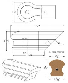 LJ-7919: Conect-A-Kit Opening Cap for LJ-6900 Handrail CAD Drawing