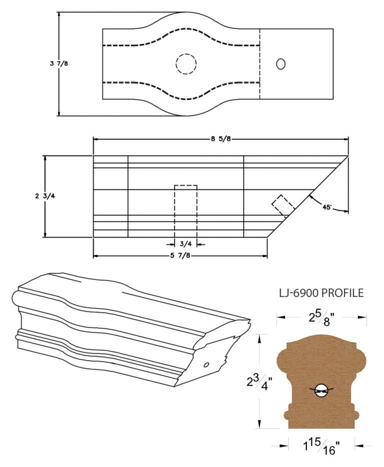 LJ-7920: Conect-A-Kit Tandem Cap for LJ-6900 Handrail CAD Drawing