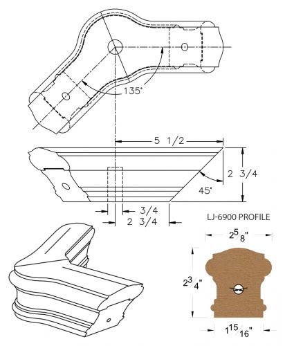 LJ-7921-135: Conect-A-Kit 135° Level Turn with Cap for LJ-6900 Handrail CAD Drawing