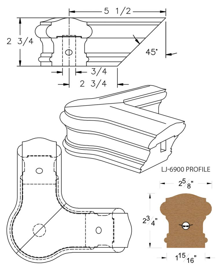 LJ-7921: Conect-A-Kit 90° Level Quarterturn with Cap for LJ-6900 Handrail CAD Drawing