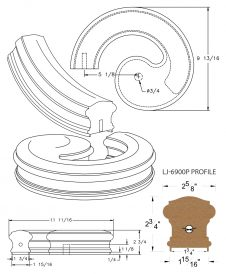 "LJ-7930P: Conect-A-Kit Left Hand Volute for LJ-6900P - 1 3/4"" Plowed Handrail CAD Drawing"