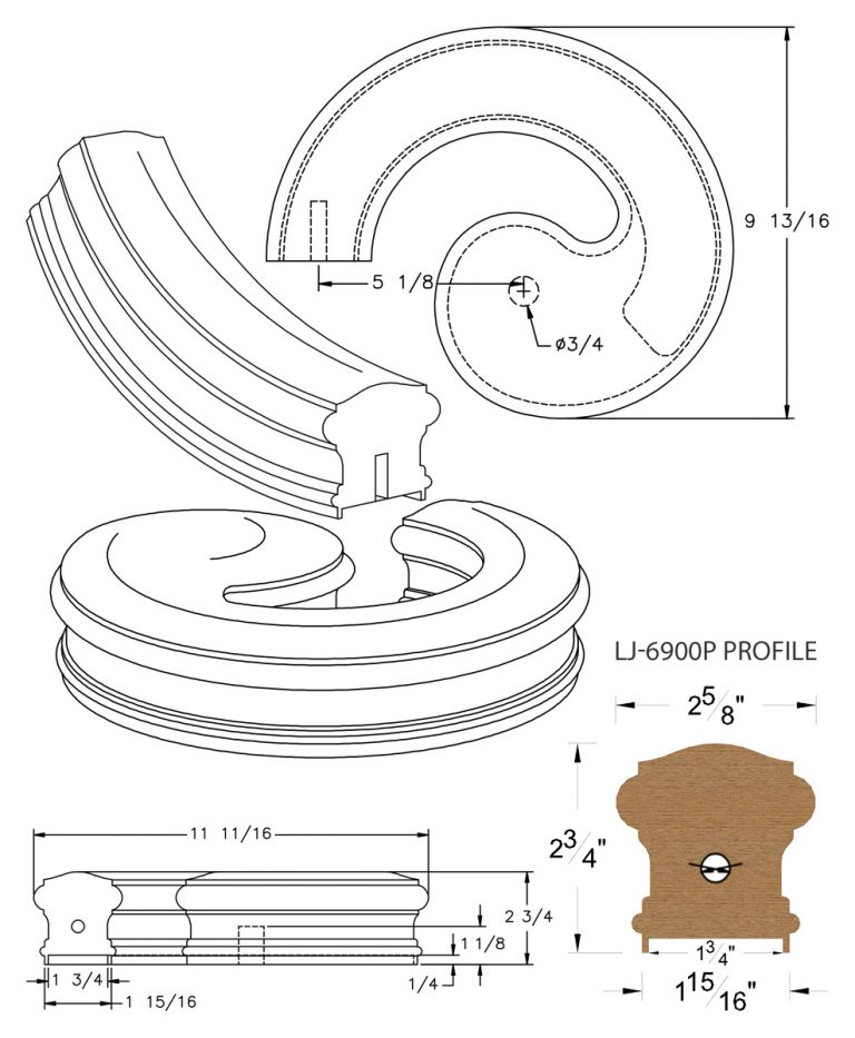 """LJ-7930P: Conect-A-Kit Left Hand Volute for LJ-6900P - 1 3/4"""" Plowed Handrail CAD Drawing"""