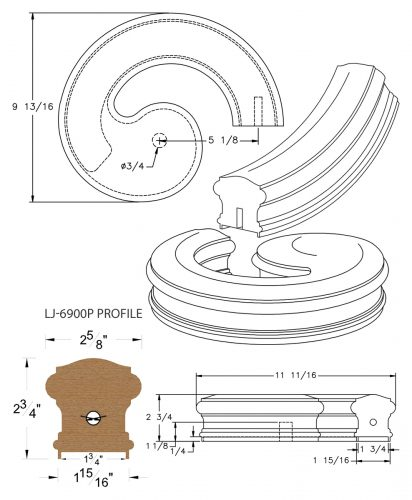 """LJ-7935P: Conect-A-Kit Right Hand Volute for LJ-6900P - 1 3/4"""" Plowed Handrail CAD Drawing"""