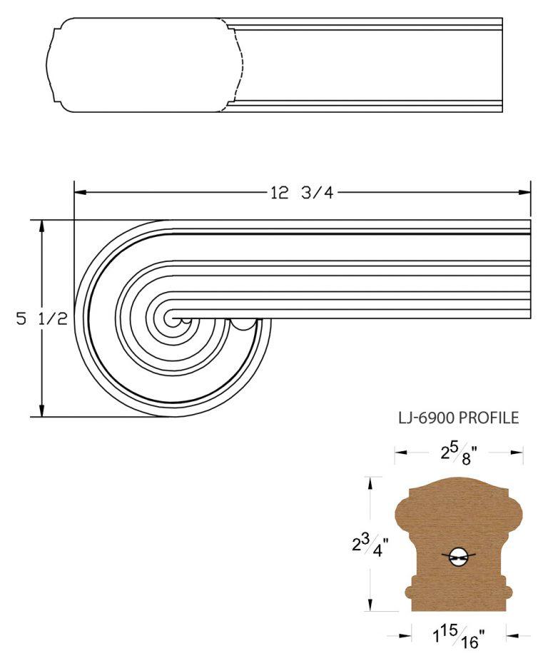 LJ-7938: Vertical Volute for LJ-6900 Handrail CAD Drawing